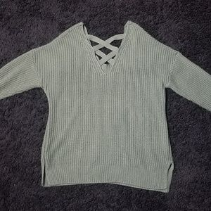 Green Long Sleeve Crisscross Sweater